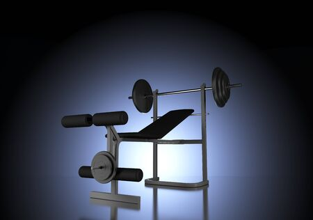 Weights: Silhouette of Weight Bench with Barbell Backlit in Dark Studio by Central Cool Blue Light and Vignette Effect