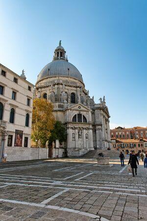 sestiere: Exterior view of the Basilica Santa Maria della Salute (English: Saint Mary of Health) in Venice, Italy.