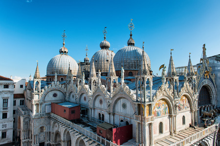 Roof architecture details of Basilica San Marco (Saint Mark's basilica) in Venice, Italy. Editorial