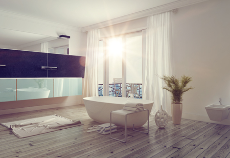 bathroom: Modern bright bathroom interior with a freestanding white bathtub, long wall mounted vanity and mirror and large windows leading to a balcony allowing in a glowing sunburst. 3d Rendering.