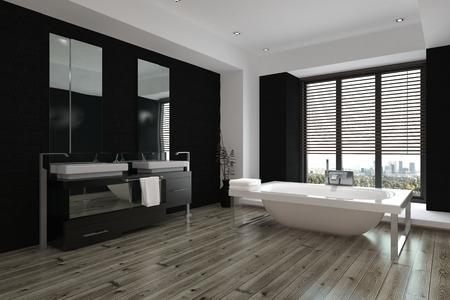 Ruime moderne zwarte en witte badkamer interieur met dubbele wastafels en een spiegel langs een muur, een vrijstaande badkuip en een houten parketvloer, 3D-rendering Stockfoto