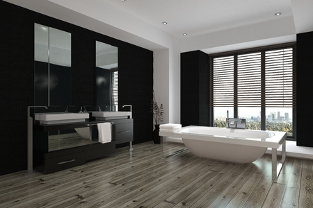 a blind: Spacious modern black and white bathroom interior with double vanities and a mirror along one wall, a freestanding tub and wooden parquet floor, 3d rendering