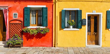view on sea: Colorful house facade in Burano (near Venice), Italy