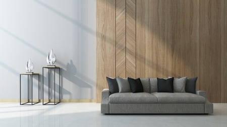 Moderna sala de estar con paneles de madera como una característica en la pared detrás de un sofá genérico cómodo con dos esculturas en las mesas junto en un rayo de sol, 3d Foto de archivo