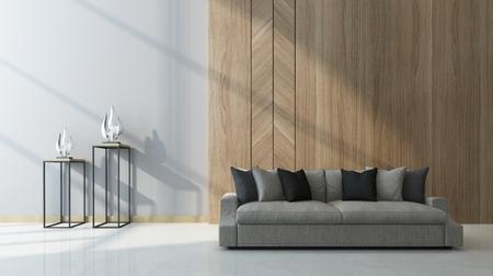 Soggiorno moderno con pannelli di legno come una caratteristica sulla parete dietro un comodo divano generico con due sculture sui tavoli accanto in un raggio di sole, rendering 3d Archivio Fotografico