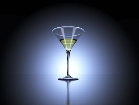shaken: Cocktail glass in front of backlit dark background. 3d Rendering.