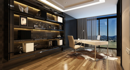 upmarket: Upmarket home office with a modern desk with a panoramic view through glass windows and large shelving cabinet against the wall, lit by overhead lighting. 3d Rendering.