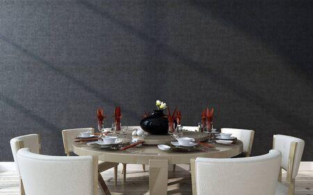 현대적인 디자인 세련 된 공식적인 원형 테이블 설정 식기, 린 넨 및 중앙 회전 목마 주위 안경 누워, 검은 벽 배경, 3d 렌더링을 가까이 스톡 콘텐츠