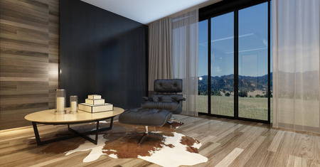 recliner: Modern living room in a luxury home with a comfortable recliner chair and table on an animal skin on a wooden parquet floor, large widows with a country view and huge television set. 3d Rendering.