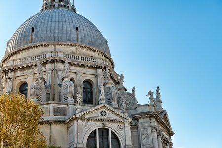 santa maria: Exterior view of the Basilica Santa Maria della Salute (English: Saint Mary of Health) in Venice, Italy.