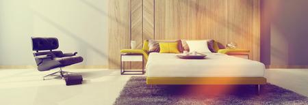 divan: Vista panorámica de un interior moderno dormitorio con una cama de estilo diván doble y sillón reclinable negro bañado en un rayo de sol caliente, 3d. Formato de banner horizontal