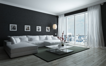 Contemporary black and white living room with stylish interior decor, an upholstered lounge siite and glass door leading to an outdoor patio, 3d render
