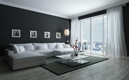 Moderne Schwarz-Weiß-Wohnzimmer mit stilvoller Inneneinrichtung, ein gepolsterter Lounge Siite und Glastür zu einer Terrasse führt, 3d render