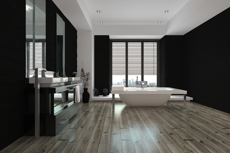 Large spacious black and white bathroom interior with a freestanding bathtub and wall mounted vanities and mirror, view down the length of the parquet floor, 3d render Archivio Fotografico