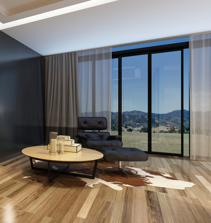floor covering: Cozy corner in a modern living room with a black recliner chair and table on an animal skin floor covering on a parquet floor in front of panoramic view windows overlooking mountains. 3d Rendering. Stock Photo
