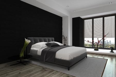 Diseño Arquitectónico Interior moderno de un dormitorio principal espacioso en gris y blanco del color de combinación. Foto de archivo