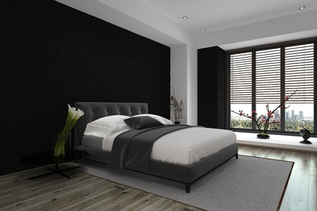a blind: Modern Architectural Interior Design of a Spacious Master Bedroom in Gray and White Color Combination.