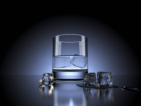 dramatically: Water Glass with Ice Cubes in front of dramatically backlit dark background. 3d Rendering. Stock Photo