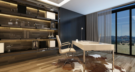 Elegant home office interior with a modern desk overlooking large windows with a view onto countryside and stylish cabinetry on the wall, illuminated by overhead lighting. 3d Rendering. Banque d'images