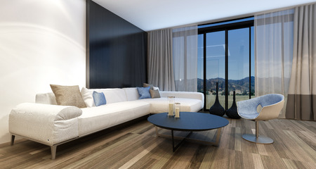 big screen tv: Stylish modern entertainment room with a huge wall mounted television set in front of panoramic view windows overlooking countryside, generic couch and tub chair. 3d Rendering. Stock Photo