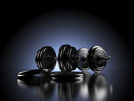 Manubri di fronte a retroilluminato sfondo scuro. Immagine di concetto per Fitness, Body Workout o un stile di vita sano. Rendering 3D. Archivio Fotografico