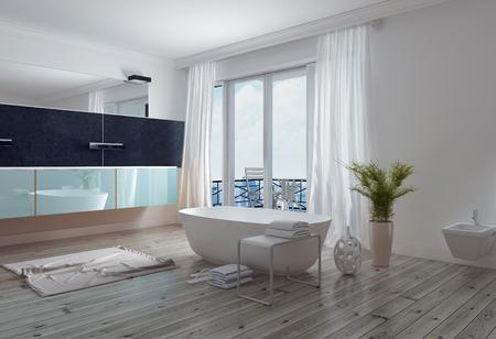 モダンなスタイリッシュな白いバスルーム付け自立バスタブ、長い壁ミラーおよび虚栄心、床から天井までの窓はパティオに 。3 d レンダリング。