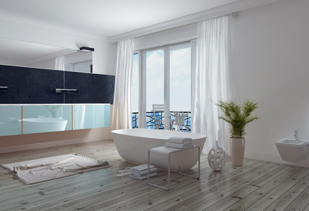 ceiling: Modern stylish white bathroom with a free standing bathtub, long wall mirror and vanity and floor to ceiling windows leading to a patio. 3d Rendering. Stock Photo