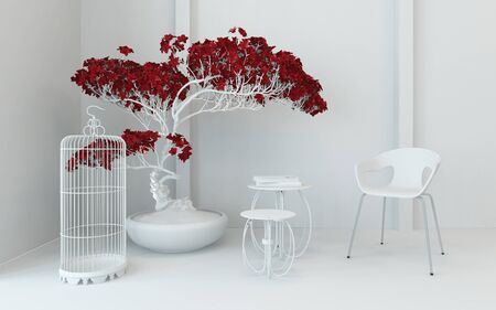 contemporary living room: Artistic contemporary interior decor in a monochromatic white living room corner with red potted plant, an empty wire birdcage, nest of tables and modular chair, 3d render