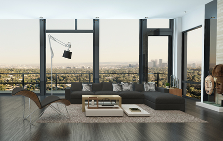 city view: Contemporary living room interior in an urban apartment with a comfortable sofa unit in front of panoramic view windows overlooking the city with outdoor patio, 3d render Stock Photo