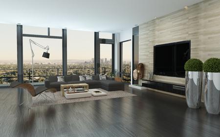 Moderne städtische Wohnzimmer inter mit großem Sichtfenster mit Blick auf die Stadt, Topfpflanzen, einen Parkettboden und komfortable modulare Sitzgruppe, 3d render