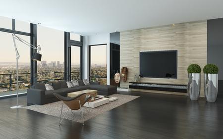Espaciosa sala de estar moderna con decoración gris oscuro y blanco con vistas a la ciudad a través de ventanales panorámicos de piso a techo, 3d rinde esquina perspectiva