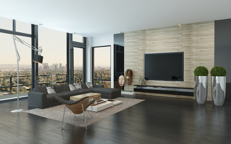 Spacious modern living room with dark grey and white decor overlooking the city through panoramic floor-to-ceiling windows, 3d render corner perspective