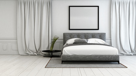 Luxury Bedroom With Grey And White Interior Decor With A Double Bed Between  Long Floor Length