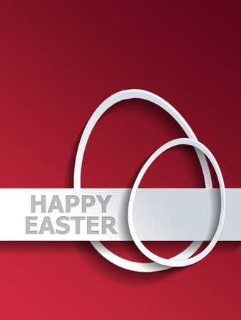 egg shaped: Abstract pair of different shaped egg outlines next to Happy Easter label over red gradient background Stock Photo