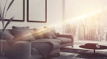 upholstered: Beam of sunlight lighting up a comfortable living room interior with upholstered armchairs and blank picture frames on the wall. 3d rendering Stock Photo