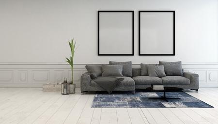 白い壁、3 d レンダリングに掛かっている 2 つの大規模な空の図枠の下の快適な布張りのソファの間の灰色と白のシンプルなリビング ルーム