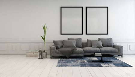 living room design: Minimalist grey and white living room interior with a comfortable upholstered couch below two large empty picture frames hanging on a white wall, 3d rendering
