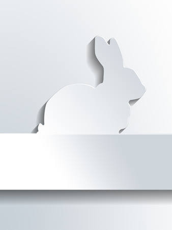 shape silhouette: Silhouette of bunny rabbit profile shape above blank label with copy space for holiday greetings