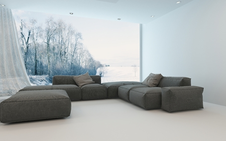 white winter: Comfortable cool bright living room interior with upholstered sofas arranged in the corner in front of a view window overlooking a winter garden or park, 3d render