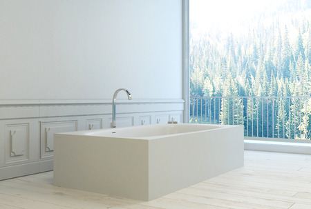 Modernes unbedeutendes weißes Badezimmer-Interieur mit Holztäfelung an den Wänden und einer Badewanne ein großes Fenster mit Blick auf Pinienwälder, 3D-Rendering Blick Standard-Bild