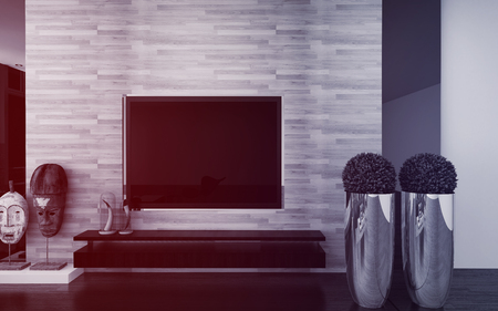 architectural feature: Wall mounted TV in a modern living room interior with topiary potted trees, African masks and a feature textured wall in an architectural background, 3d render