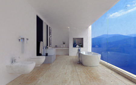 bathroom interior: Large spacious modern bathroom interior with a stunning view of mountain ranges through a panoramic floor-to-ceiling window in a luxury home, 3d render