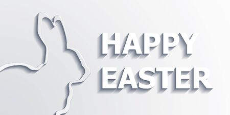 catholic symbol: Happy Easter text and bunny in an elegant 3d monochromatic white design for a greeting card