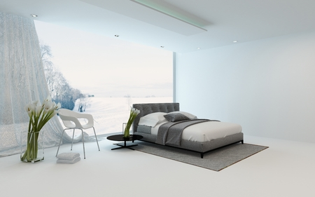 modern apartment: Modern cool bedroom interior with fresh arums and a double bed overlooking a winter garden through a large view window, 3d render