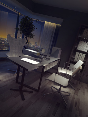 home office interior: Darkened empty luxury home office interior at night with a high angle view of the desk and chairs backed by a view over the city. 3d rendering