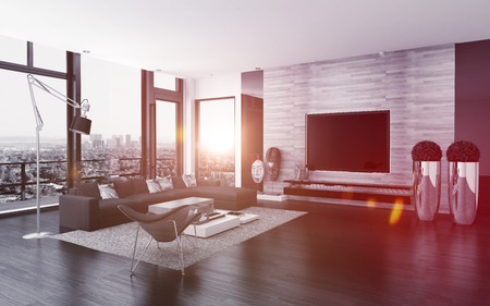 Modern urban living room interior with large view windows overlooking the city, potted plants, a parquet floor and comfortable modular lounge suite, 3d render 版權商用圖片