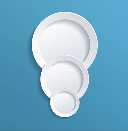 solid blue background: Three Conceptual White Solid Circles in Different Sizes in Light Blue Background, Emphasizing Copy Space.