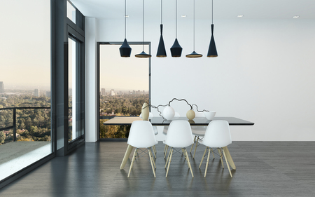 dining room table: Contemporary dining corner in a living room with four stylish overhead lights above a table and chairs with huge view windows overlooking the city, 3d render