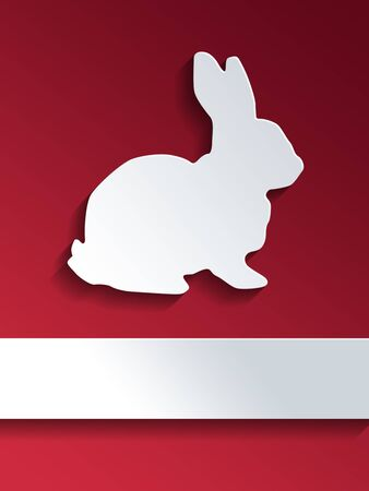 rabbit silhouette: Cut out rabbit shape placed on center of background with red gradient and blank label