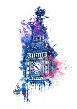 Colorful watercolor painting of Big Ben clock tower in Westminster London with bright blue, purple and pink splashes over the top of the Gothic facade for a card, poster or souvenir design 스톡 콘텐츠